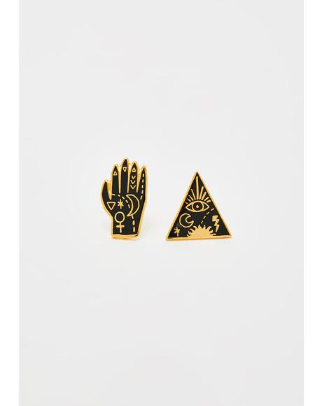 Mystic Powers Gold Stud Earrings