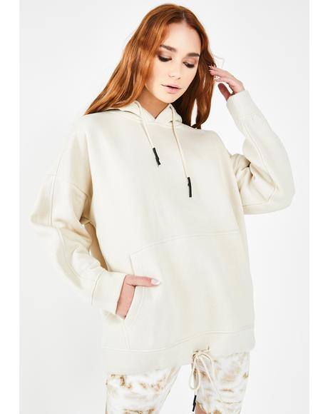 Cream Oversized Pullover Hoodie
