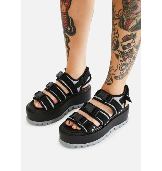 Koi Footwear Gray Asteroid Matrix Platform Sandals