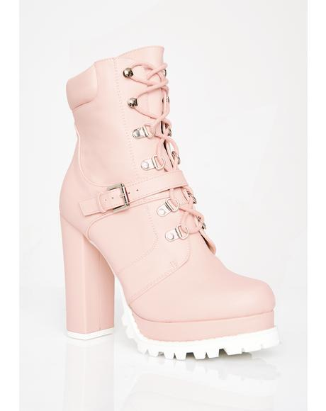 Blush Match My Drip Combat Booties