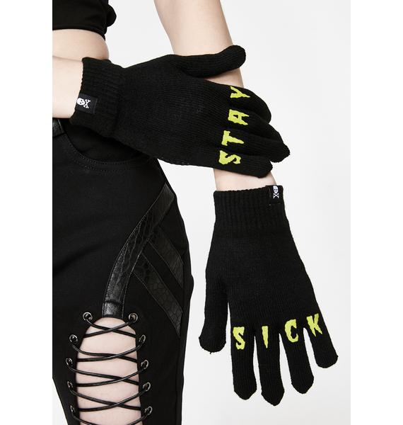 Sourpuss Clothing Stay Sick Knit Gloves