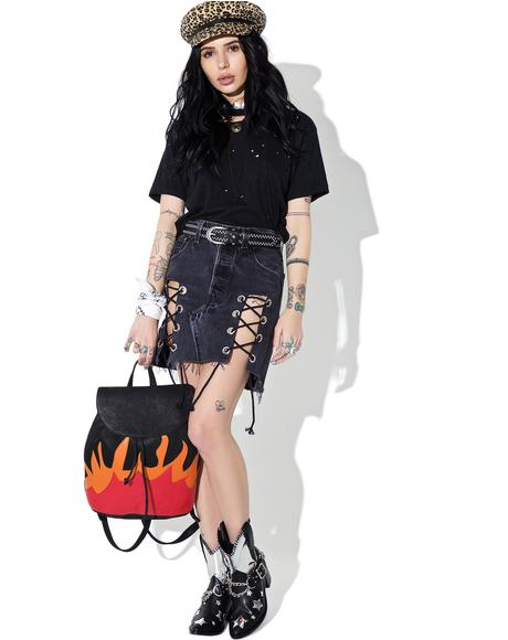 Reworked Levi's Denim Lace-Up Skirt