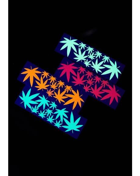 Blacklight Weed Leaf Body Stickers