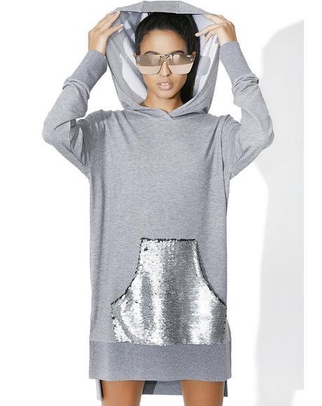 Sequin Pocket Hoodie Dress