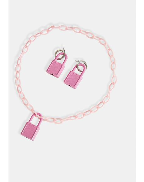 Figure This Out Lock Charm Necklace & Earring Set