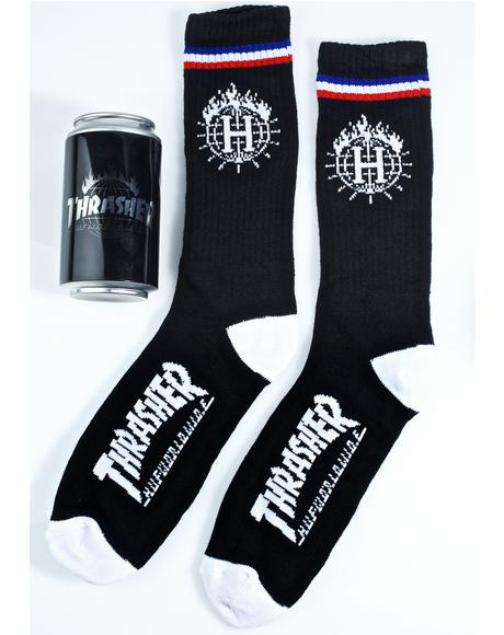 X Thrasher Tour De Stoops Sock Can