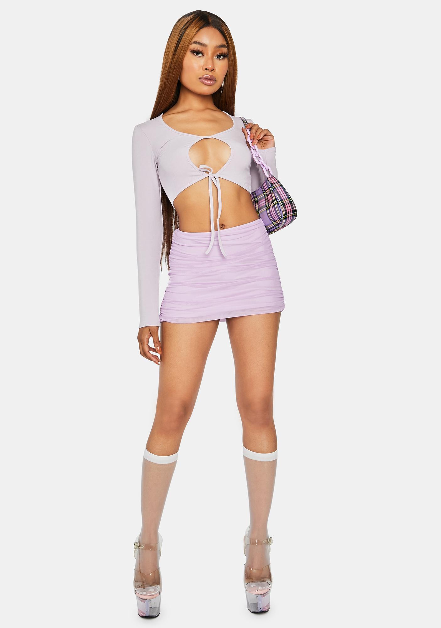 Lilac Rude Girl Keyhole Crop Top