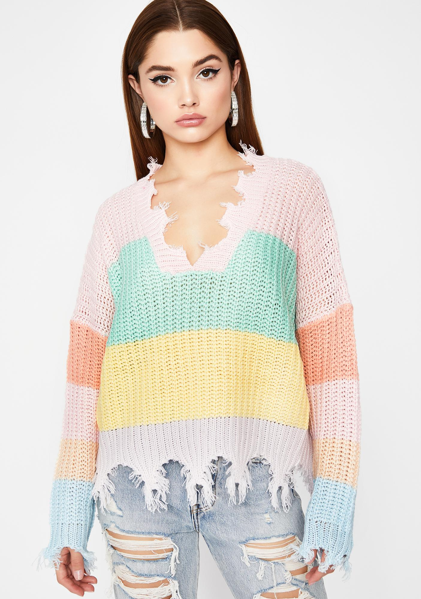 Twisted Treats Distressed Sweater