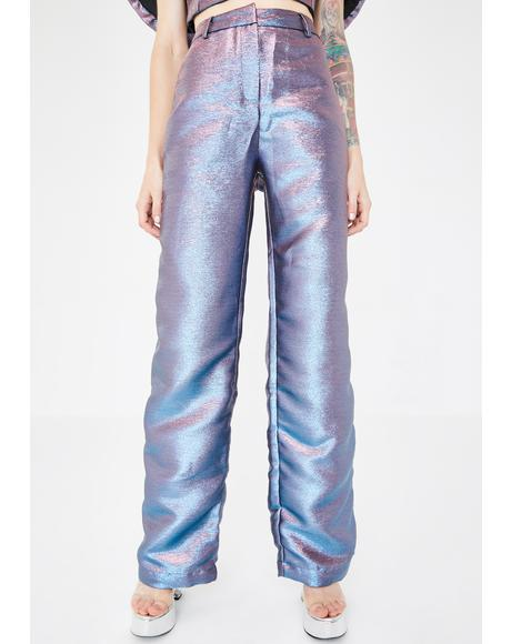 Pink Blue Metallic Wide Leg Trousers