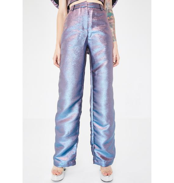 Jaded London Pink Blue Metallic Wide Leg Trousers