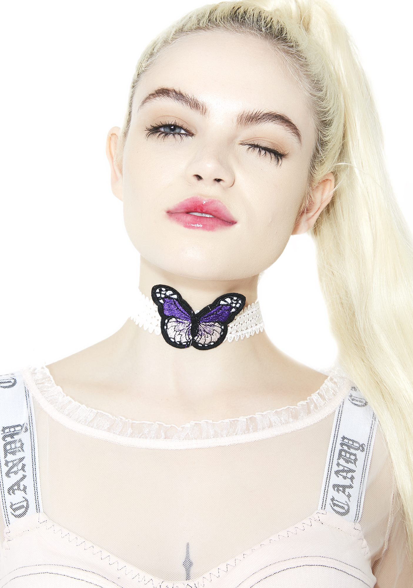 White Lace Butterfly Choker