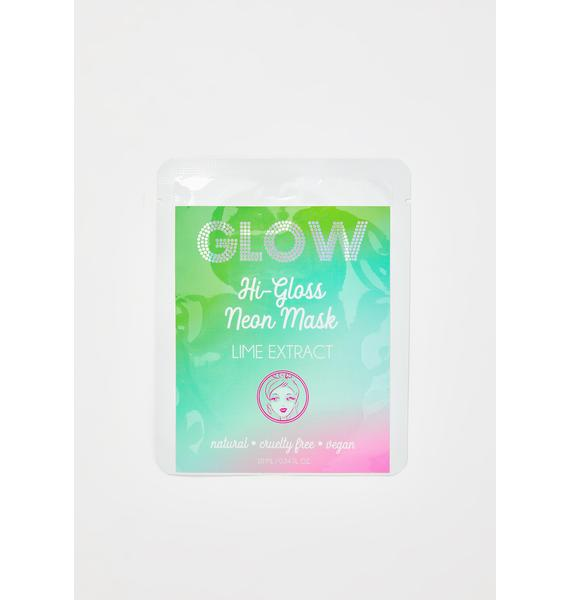GLOW Lime Hi-Gloss Neon Face Mask