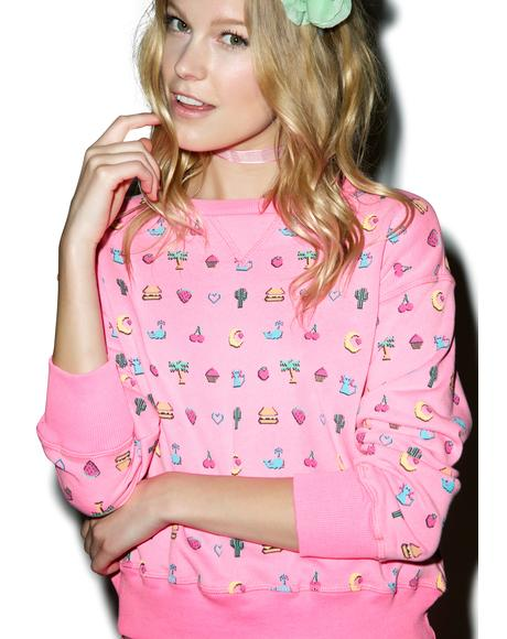 Pixelated Emoji Sloan Sweater