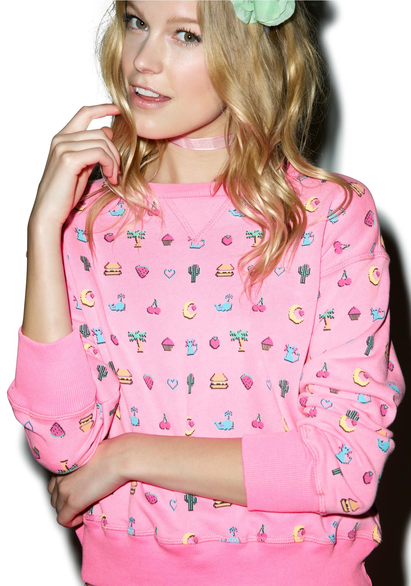 Wildfox Couture Pixelated Emoji Sloan Sweater