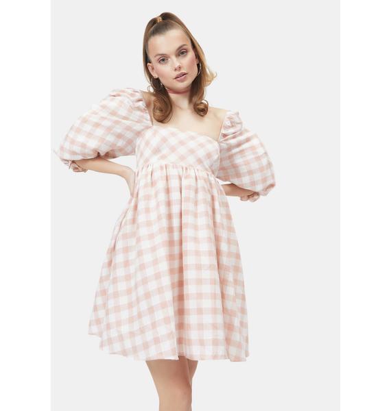 Lady Walk Me Home Gingham Babydoll Dress