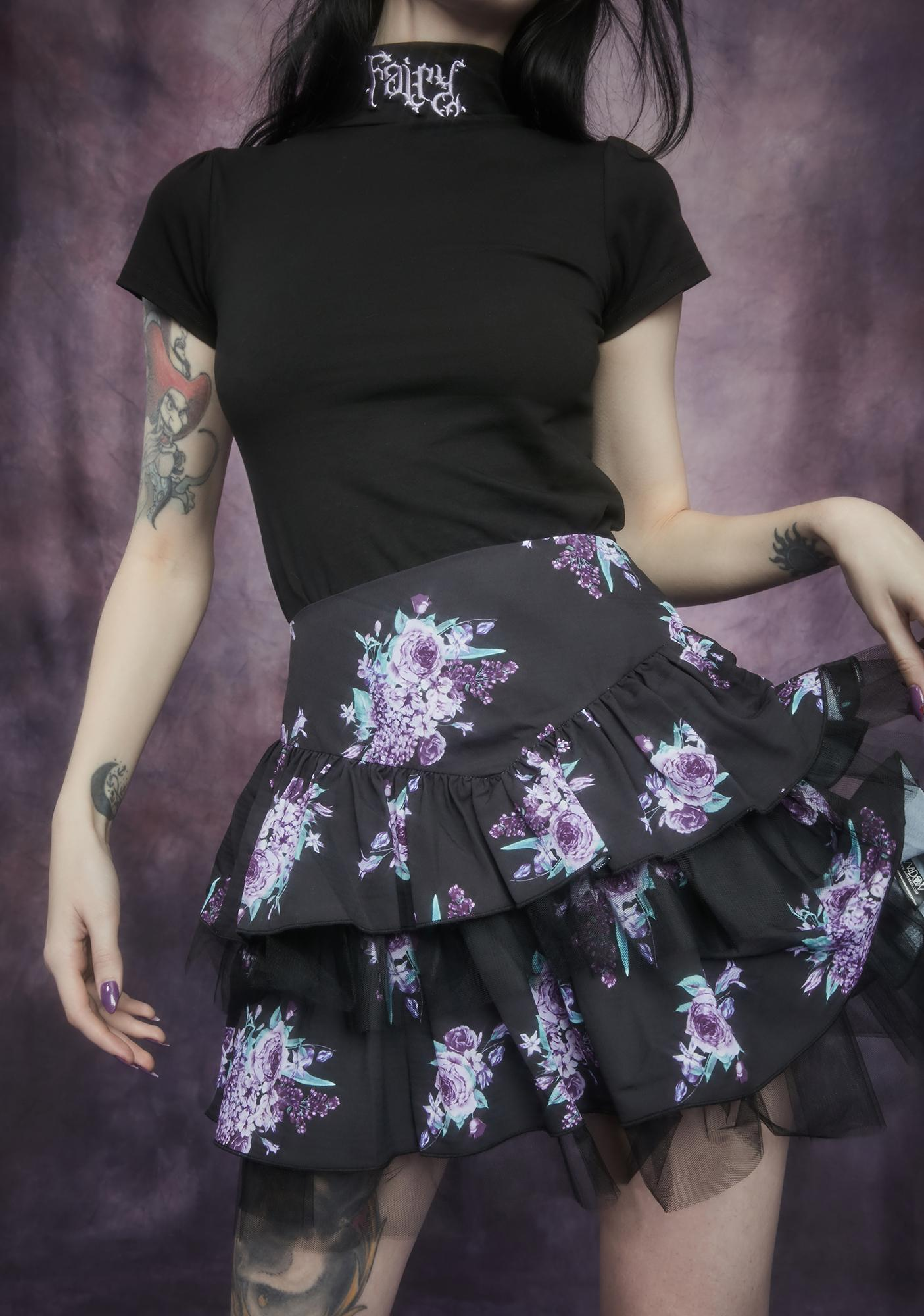 Widow Thorns And Thistles Tiered Floral Skirt