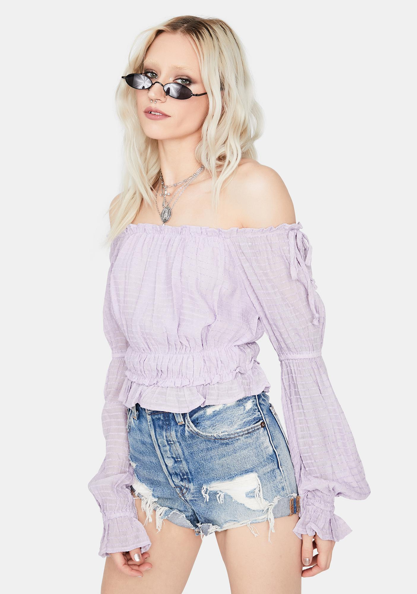 Lilac Snowfall Sunday Off Shoulder Top