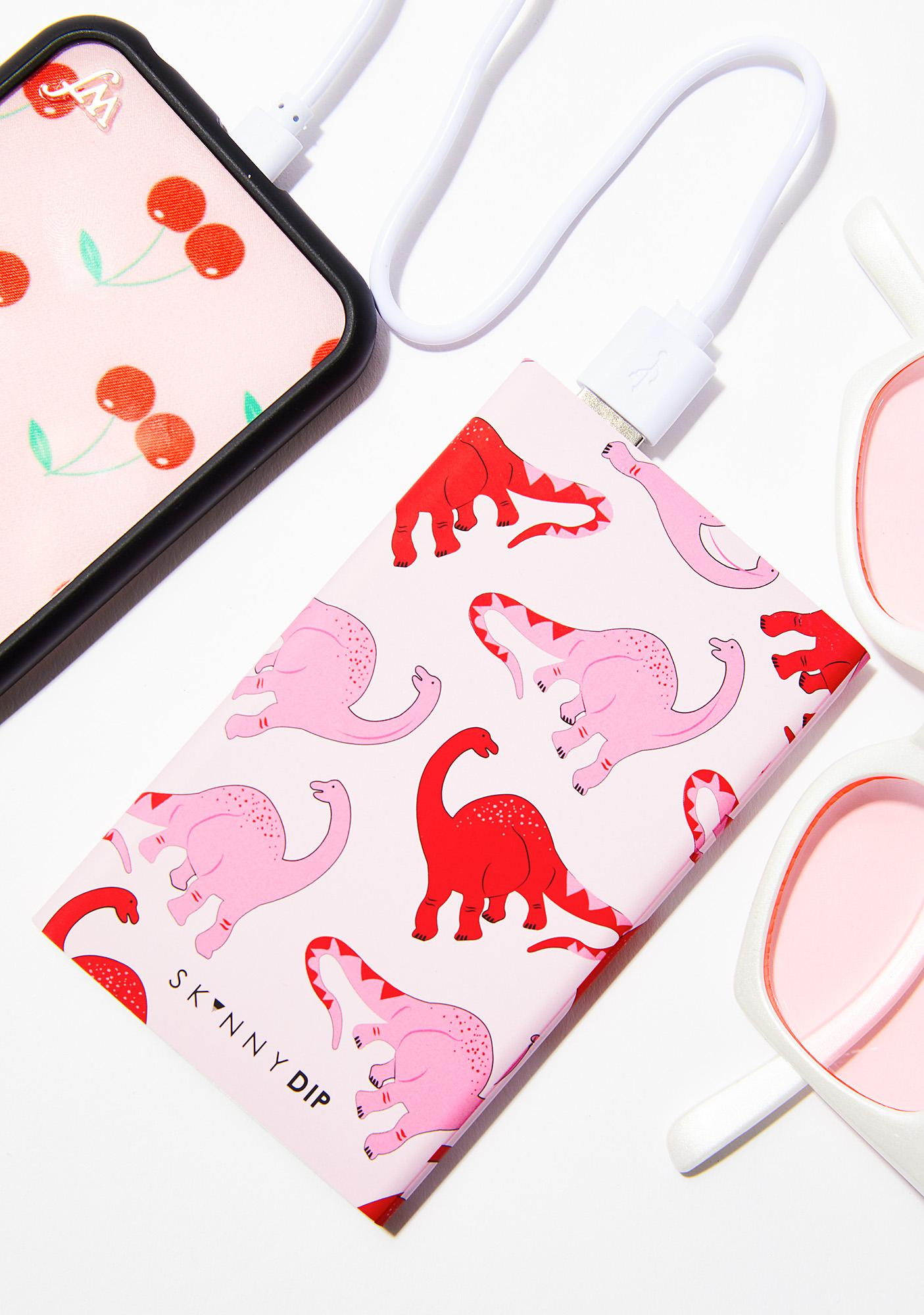 Skinnydip Pink Dino Portable Charger