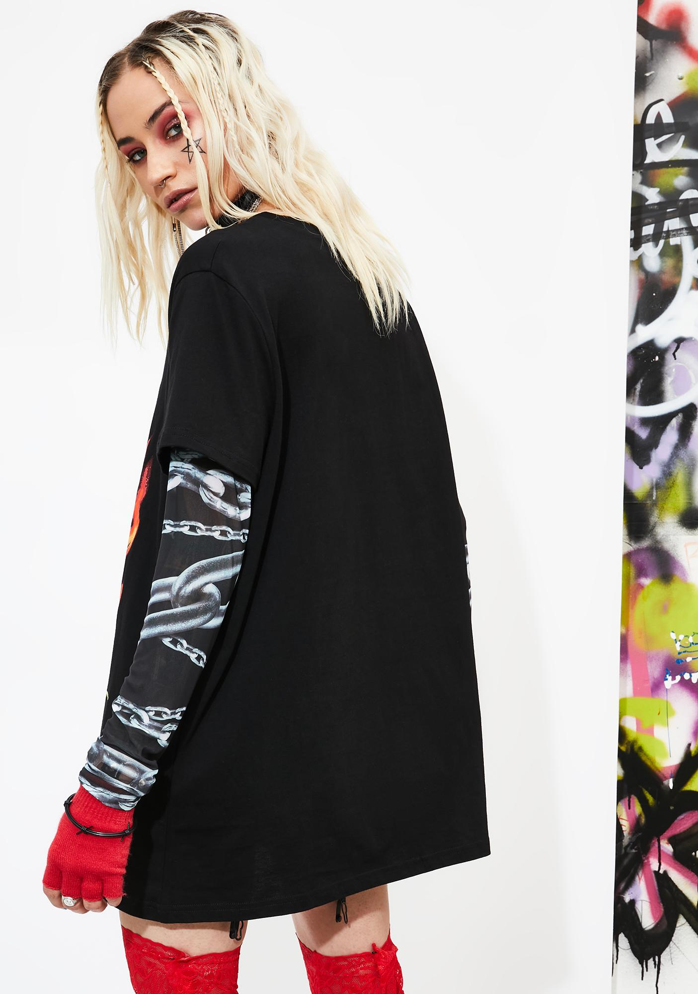 Current Mood Hell Fire Layered Graphic Tee
