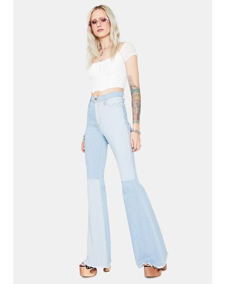 Runway Chic Colorblock High Waisted Flare Jeans