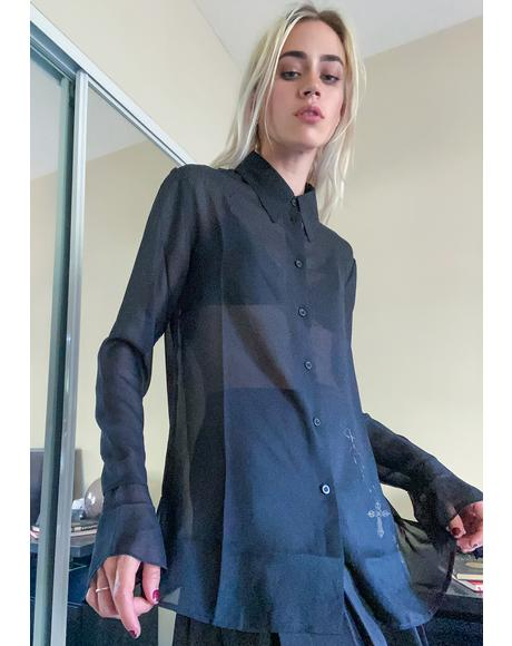 Night As Above So Below Sheer Blouse