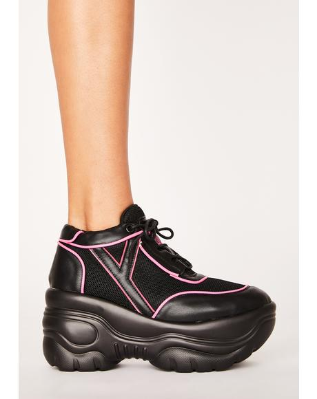 Pink Neon Matrixx Platform Sneakers