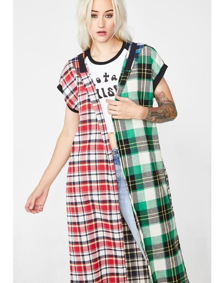 Burner Behavior Plaid Kimono