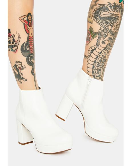 White Disco Ankle Booties