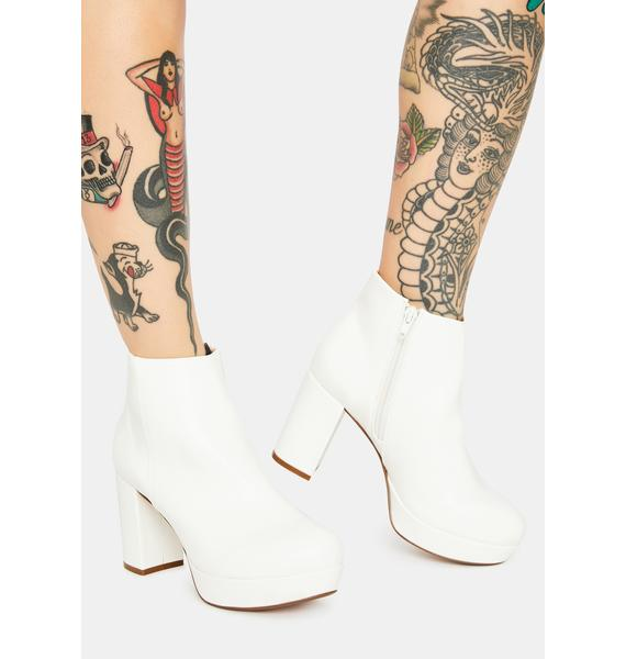 Chelsea Crew White Disco Ankle Booties