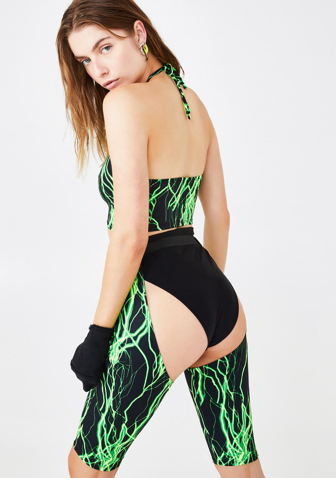 Em's The Label Lime Electric Chaps & Hot Pants Set