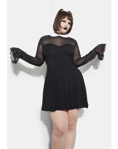 Last Touch Of Darkness Mesh Skater Dress