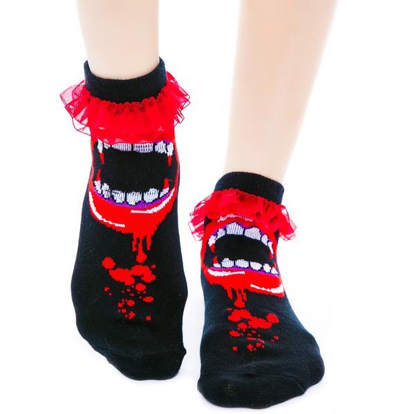 Too Fast Bite Me Fangs Ruffle Ankle Socks