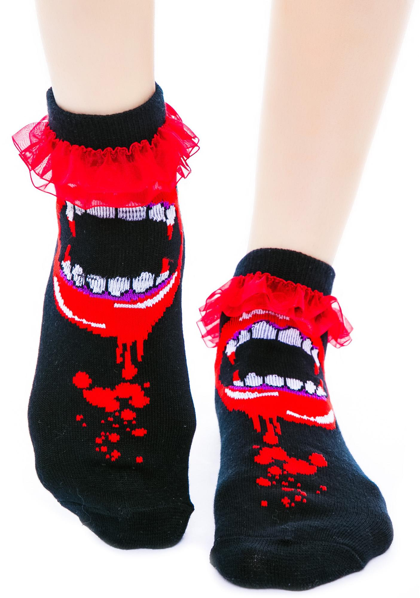 Too Fast Bite Me Fangs Ruffle Ankle Socks