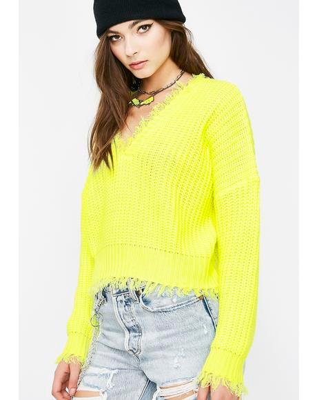 Lemon Brighter Days Distressed Sweater
