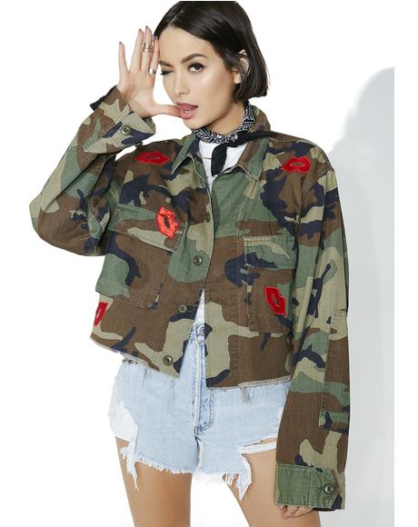 Lip Patches Camo Jacket