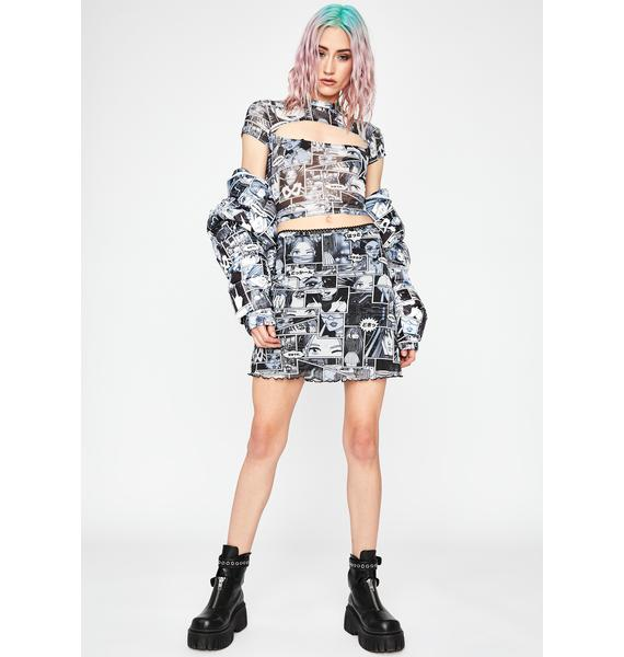 Current Mood Misfit Memoirs Mesh Skirt