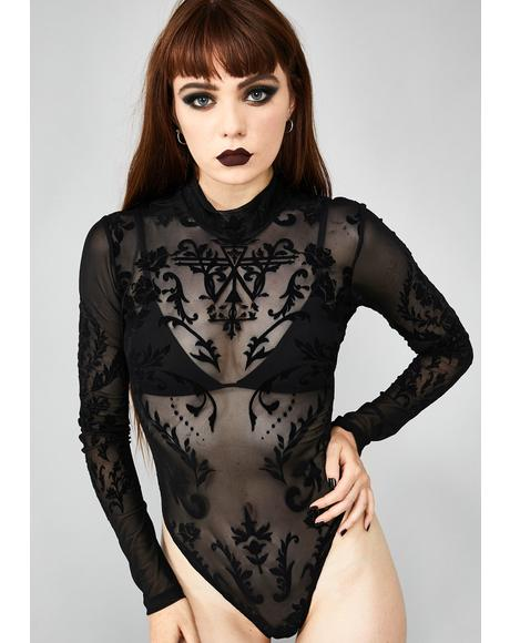 Solemn Seductress Sheer Bodysuit