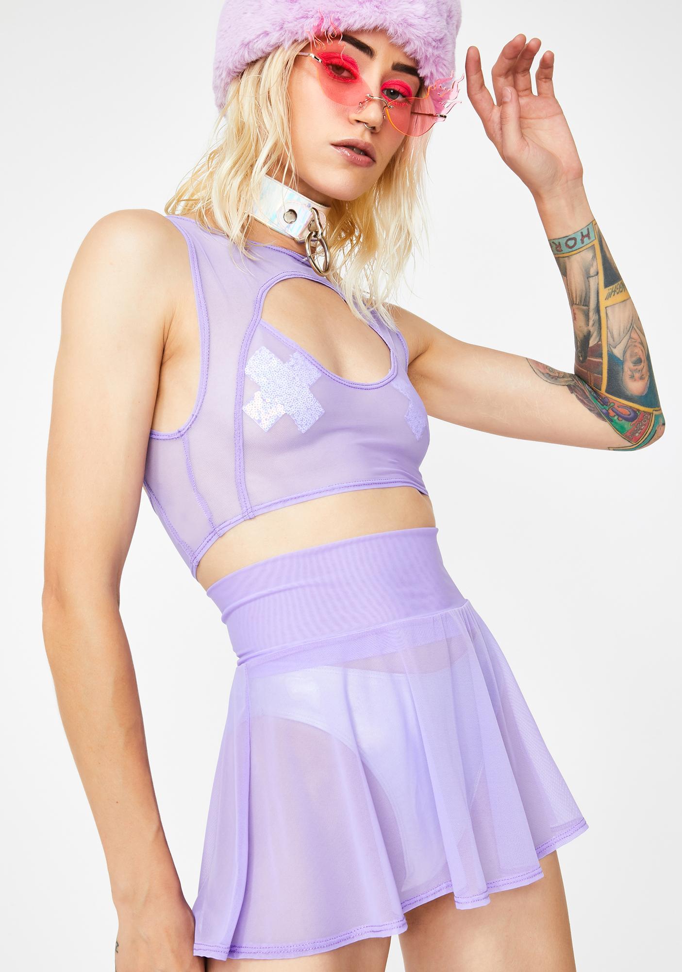 J Valentine Lavender Mesh Skater Skirt