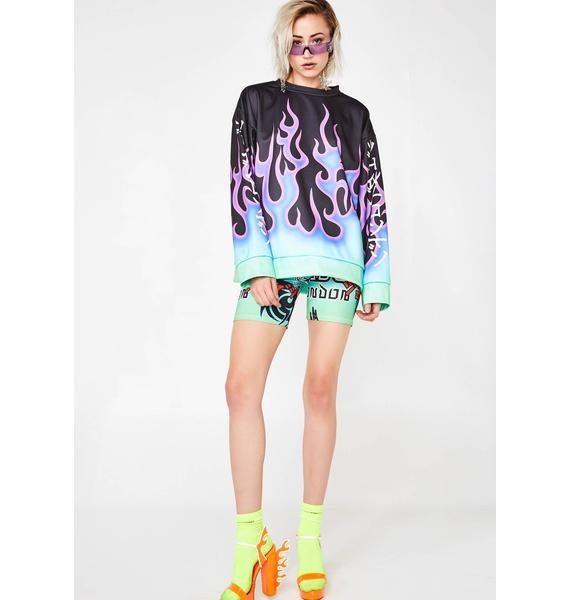 Jaded London Flame Print Oversized Sweatshirt