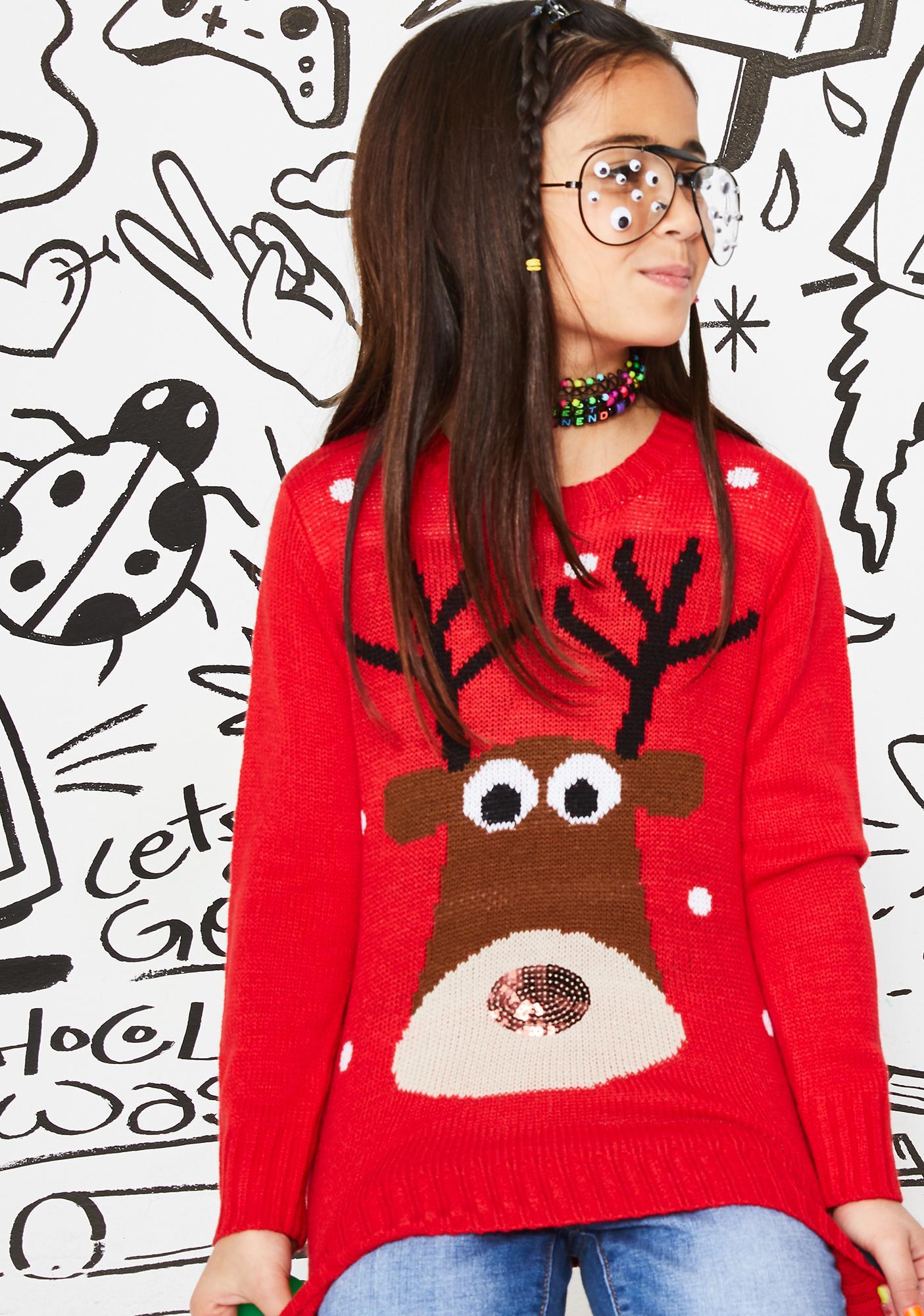 Kids Shiny Nose Reindeer Sweater
