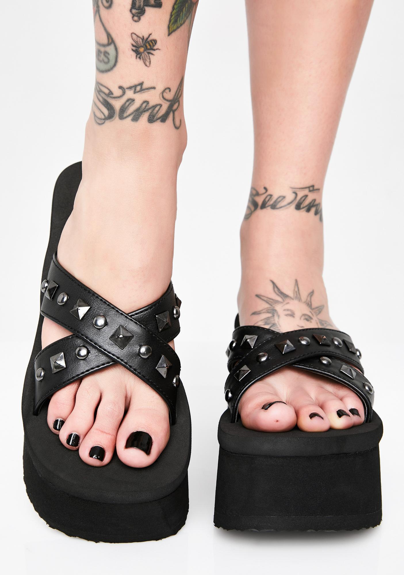 Demonia Misfit Heart Platform Sandals