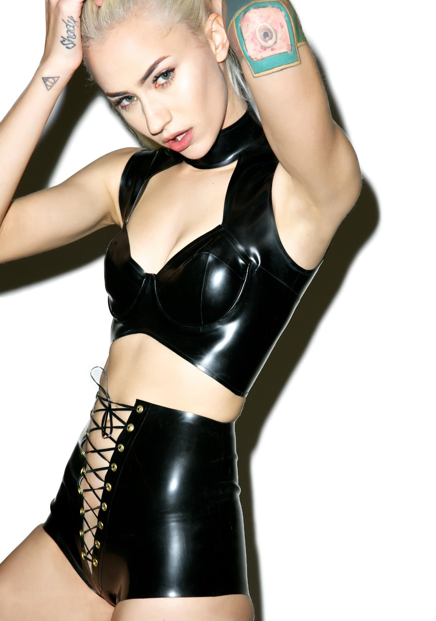 Jane Doe Latex Lace Front Shorts