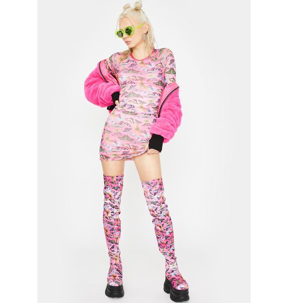 Club Exx Lovebug Mesh Mini Dress