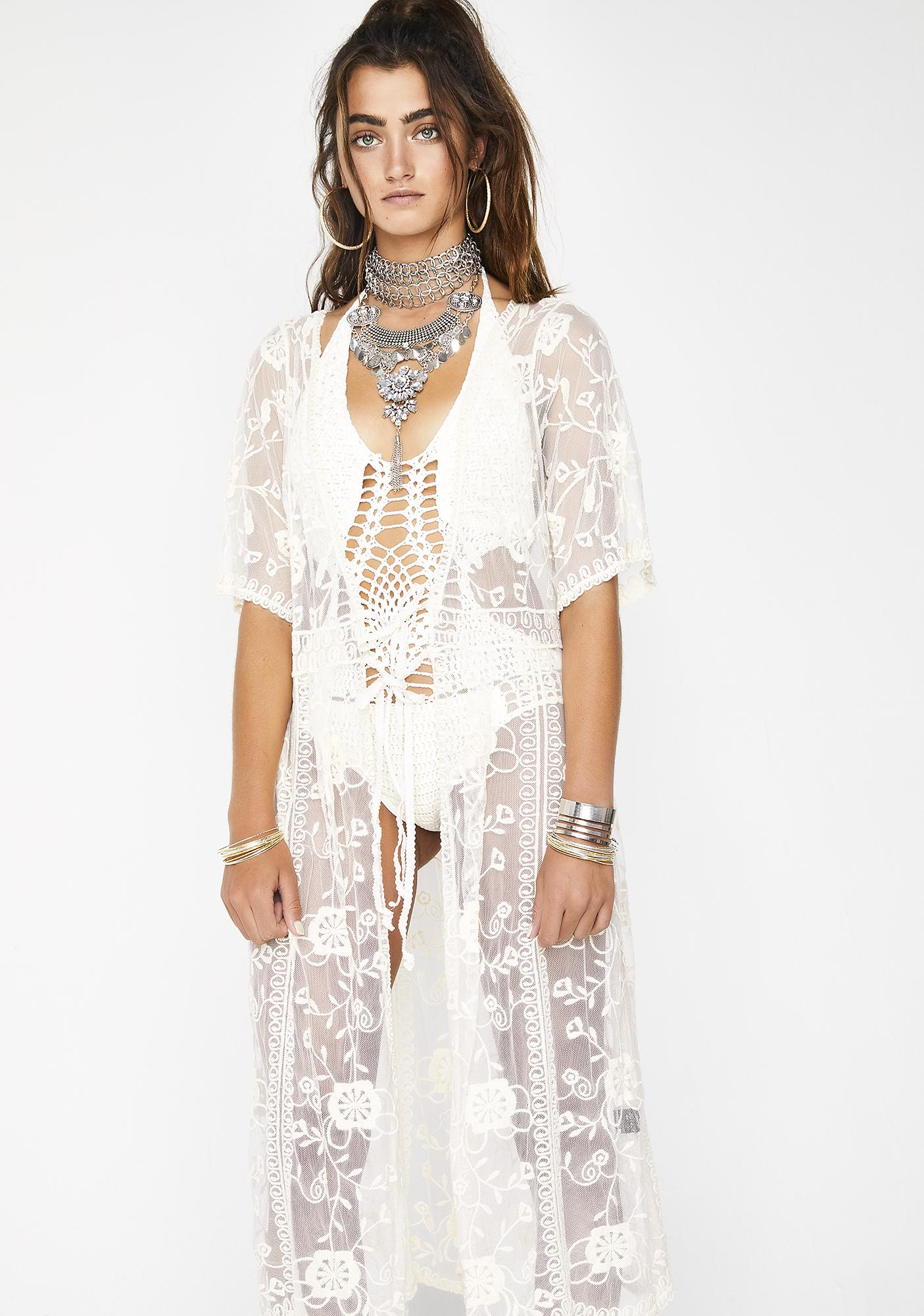 Gentle Soul Lace Kimono by Pol Clothing
