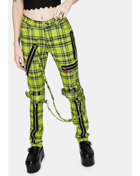 Neon Lime Plaid Bondage Pants
