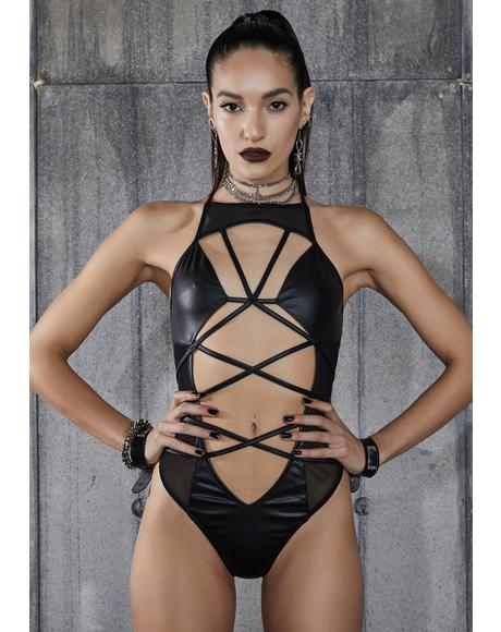 Snare Strappy Mesh Wrap Tie Bodysuit