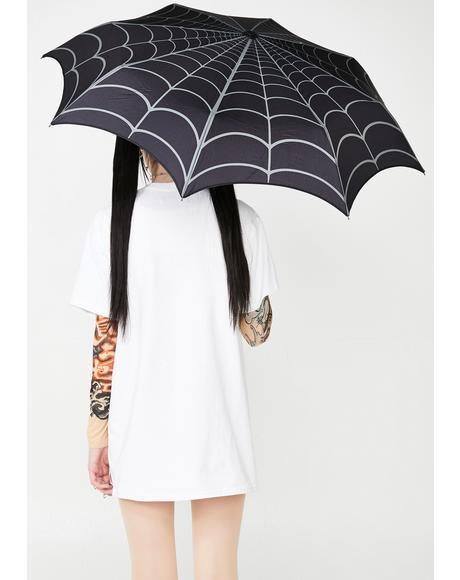 Skull Handle Spiderweb Umbrella