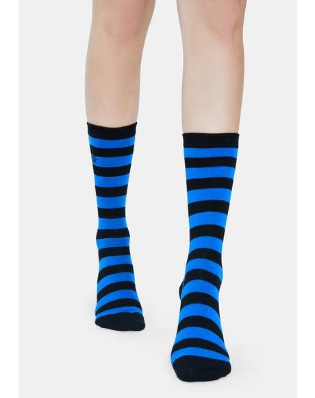 Never Passing Notes Striped Crew Socks