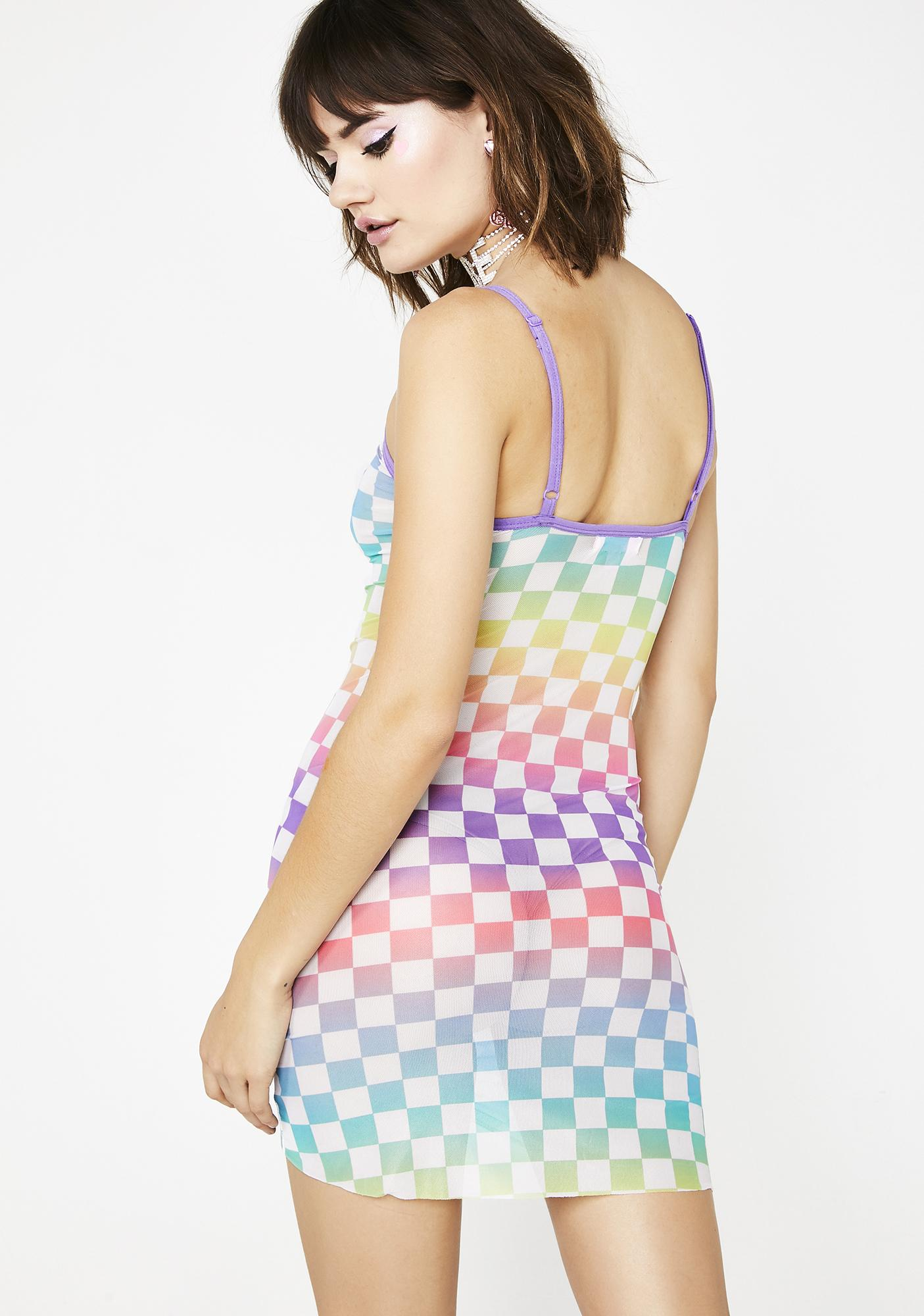 Sugar Thrillz Countin' Checks Sheer Dress