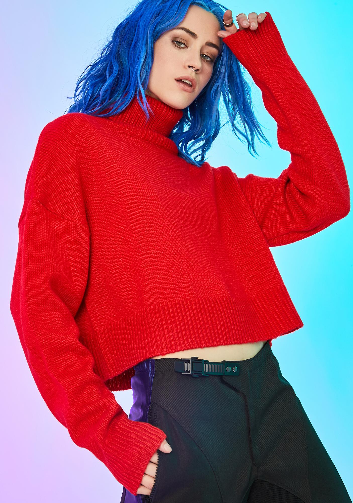 Current Mood Blank Space Chunky Sweater